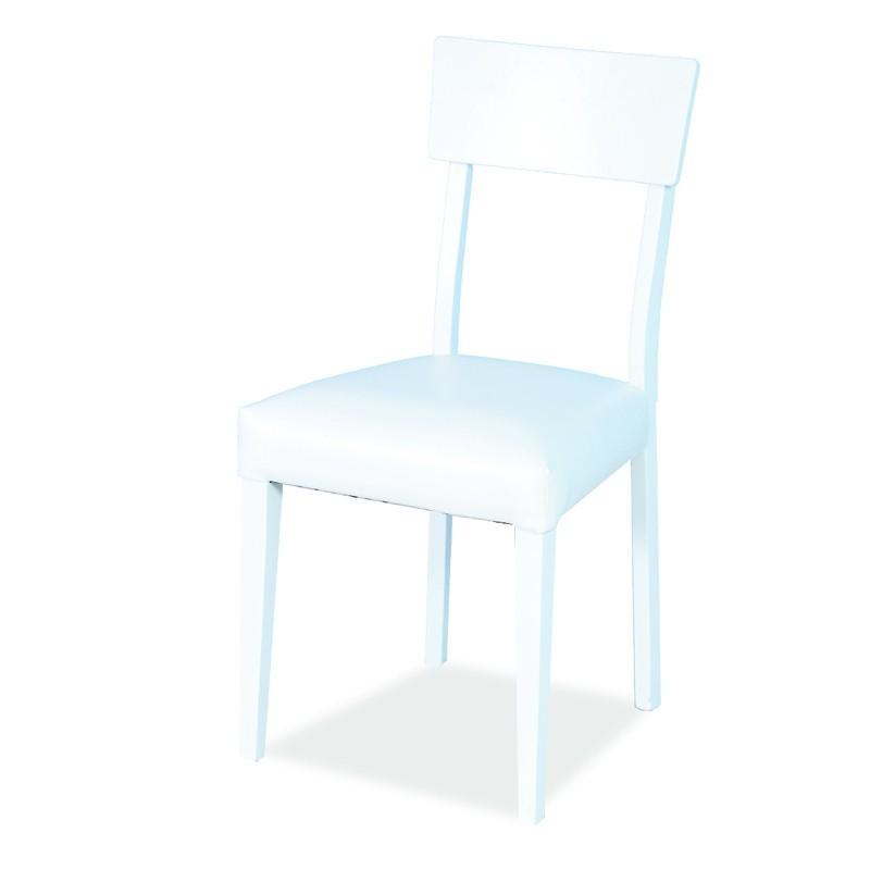 Sedute Per Sedie Di Legno.Sedia In Legno Di Faggio Bianca Seduta Imbottita In Ecopelle 46x45x