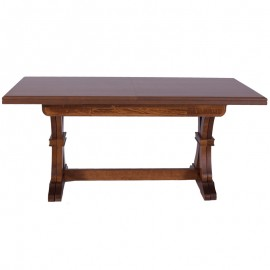 Tavolo in legno massello rettangolare allungabile colore noce 85x180/360 cm