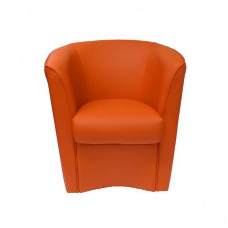 Poltroncina  rivestita in ecopelle arancio 75x66xh.76 cm