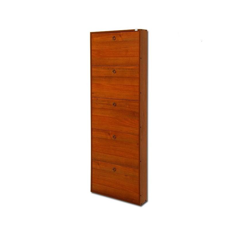 Scarpiera in legno nobilitato 5 ribalte noce antico h.180x65x15 cm