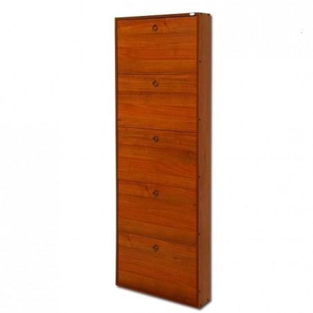 Scarpiera in legno nobilitato 5 ribalte noce antico cm 180x65x15 per interno