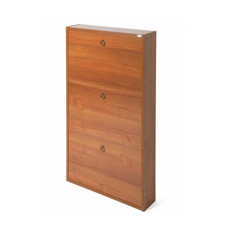Scarpiera Slim Noce Antico in legno nobilitato 3 ribalte cm 108x65x15