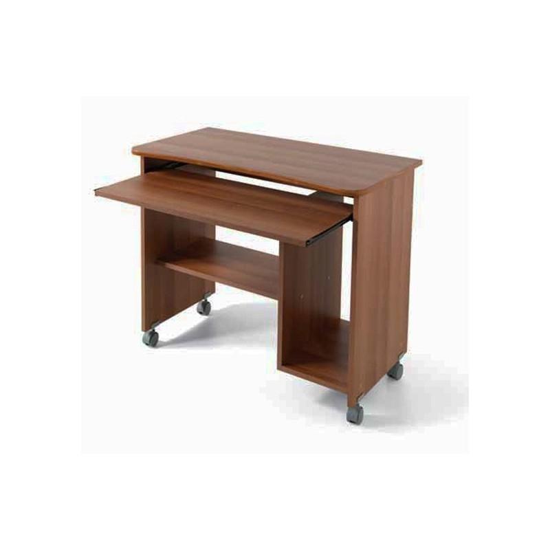 Portacomputer scrivania ufficio noce antico con ruote H.76 L.93 P.48,5 cm