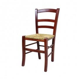 Sedia in legno massello di faggio seduta in paglia color noce  42x41xh.88 cm