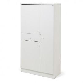 Scarpiera 3 ante 1 cassetto Bianco frassinato in legno nobilitato H133x71x33