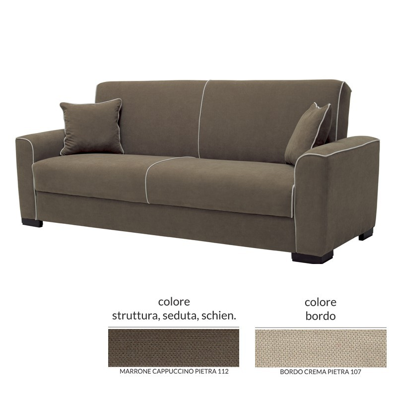 Divano letto 2 posti in tessuto marrone con contenitore 237x94xH.88 cm