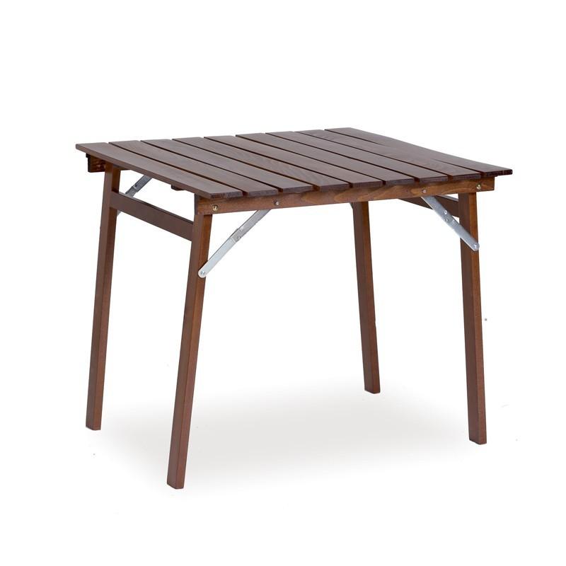 Tavolo in legno di faggio massiccio richiudibile colore noce 120x80xh.75 cm