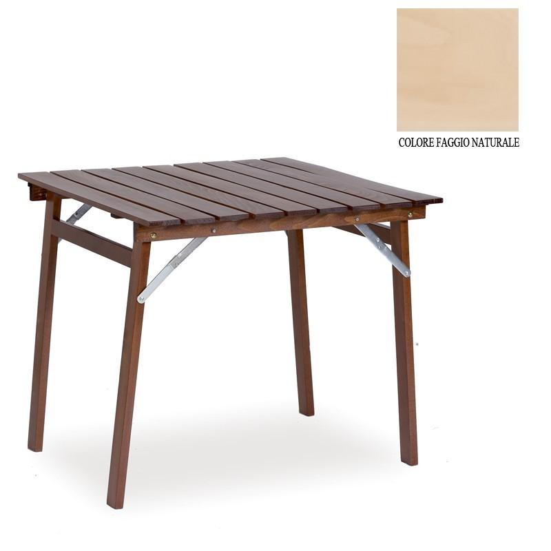 Tavolo in legno massiccio richiudibile colore naturale for Tavolo richiudibile in legno