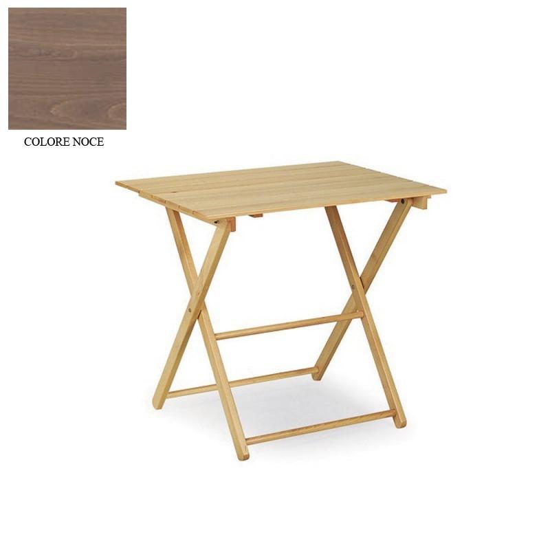 Tavolo in legno massiccio richiudibile colore noce 60x80xh for Tavolo richiudibile in legno