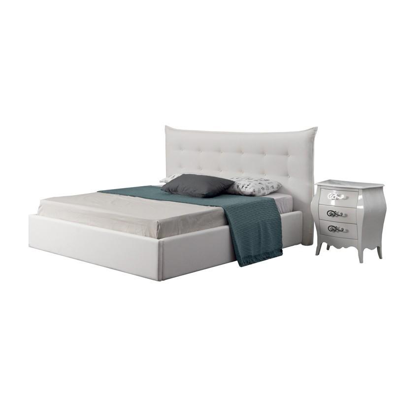 Letto Bianco Con Contenitore.Letto Matrimoniale In Ecopelle Bianco Con Contenitore 209x182xh 111 Cm