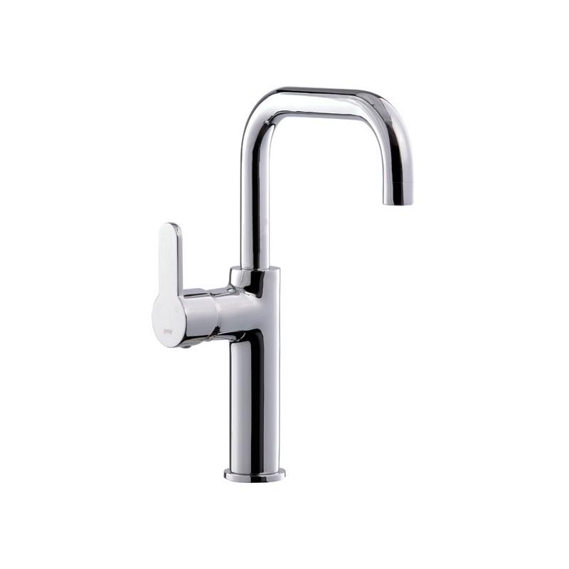 Rubinetto miscelatore per lavabo bagno finitura cromo h.30x13 cm