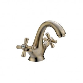 Rubinetto miscelatore per lavabo bagno finitura ottone con manopole a croce