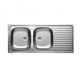 Lavello cucina due vasche acciaio da incasso  gocciolatoio a dx 50x116 cm