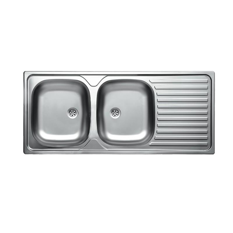 Lavello cucina due vasche acciaio da incasso gocciolatoio a dx 50x1...