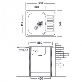 Lavello cucina vasca acciaio inox satinato gocciolatoio reversibile 50x58 cm