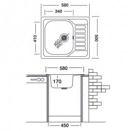 Lavello cucina vasca da incasso acciaio gocciolatoio reversibile 50...