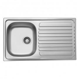 Lavello cucina vasca acciaio inox satinato gocciolatoio destra 50x86 cm