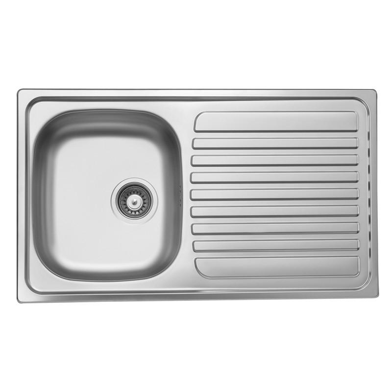 Lavello cucina vasca acciaio inox da incasso gocciolatoio dx 50x86 cm