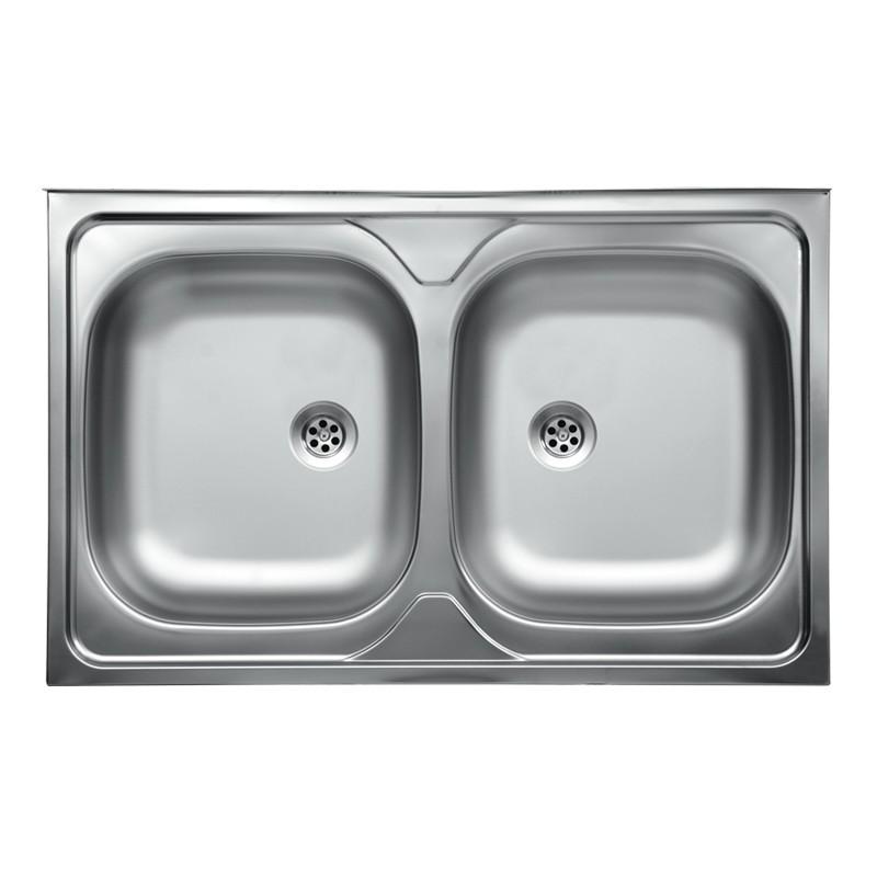 Lavello da cucina due vasche in acciaio inox da appoggio 50x80 cm