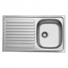 Lavello cucina vasca acciaio inox satinato gocciolatoio sinistra 50x86 cm