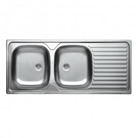 Lavello cucina acciaio 2 vasche gocciolatoio dx da incasso 50x116 cm