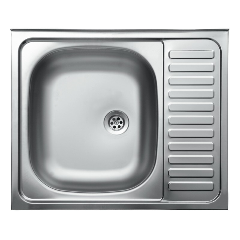 Lavello cucina vasca con gocciolatoio dx acciaio da appoggio 50x60 cm