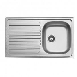 Lavello cucina vasca acciaio inox saldato gocciolatoio a sinistra 50x86 cm