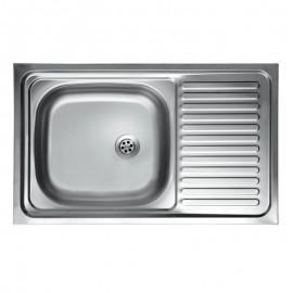 Lavello cucina vasca con gocciolatoio a destra in acciaio satinato 50x90 cm
