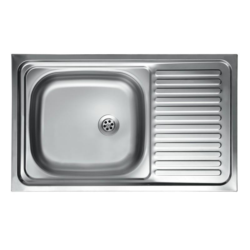 Lavello cucina vasca con gocciolatoio dx acciaio da appoggio 50x90 cm