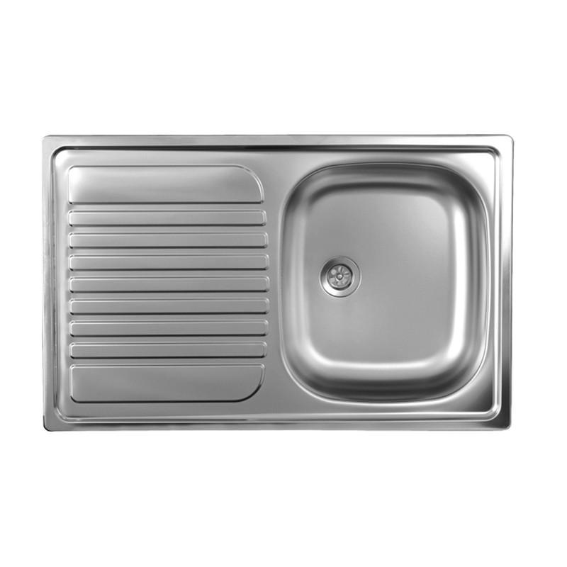 lavello cucina vasca acciaio inox da incasso gocciolatoio sx 50x79 cm