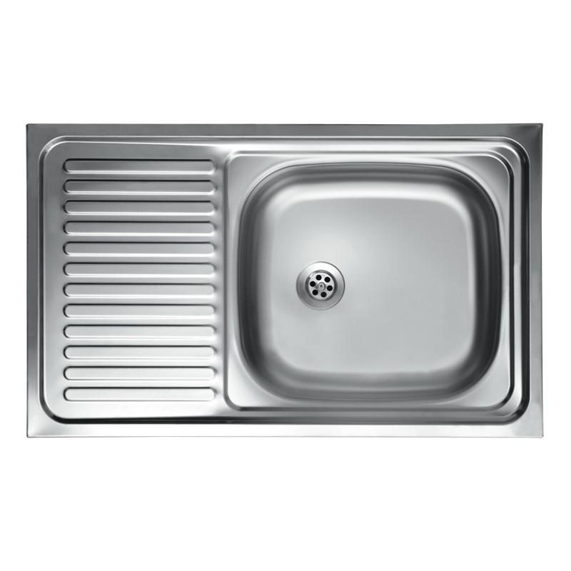 Lavello cucina vasca con gocciolatoio sx acciaio da appoggio 50x90 cm