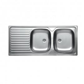 Lavello cucina due vasche acciaio satinato gocciolatoio a sinistra 50x116 cm