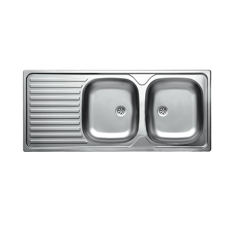Lavello cucina due vasche acciaio satinato gocciolatoio a sinistra 50x116 cm - Gocciolatoio cucina ...