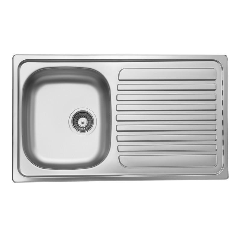 Lavello cucina vasca acciaio inox saldato gocciolatoio a destra 50x...