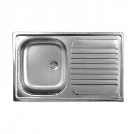 Lavello cucina vasca acciaio inox satinato gocciolatoio destra 50x79 cm
