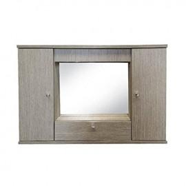 Mobile specchiera da bagno larice grigio 2 ante con ribalta h.61x93x14 cm