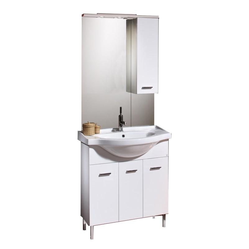 Mobile bagno 3 ante bianco con lavabo specchio c/pensile 75xh.190 cm
