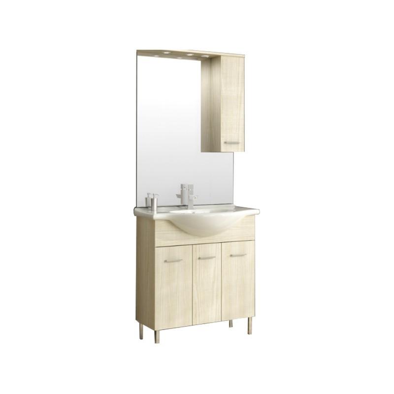 Mobile bagno 3 ante finitura pino con lavabo specchio c/pensile 75x...