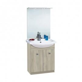 Mobile bagno olmo 2 ante con lavabo e specchio 65x35xh.85 cm