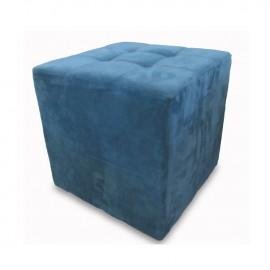 Pouff cubo in tessuto nabuk colore blu  45x45xh45 cm