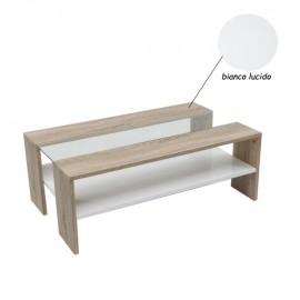 Tavolino da salotto in legno e vetro bianco lucido 100x80xh.38 cm