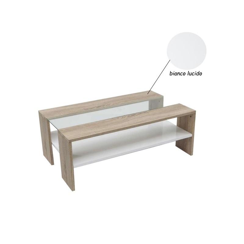da salotto in legno e vetro bianco lucido 100x80xh.38 cm