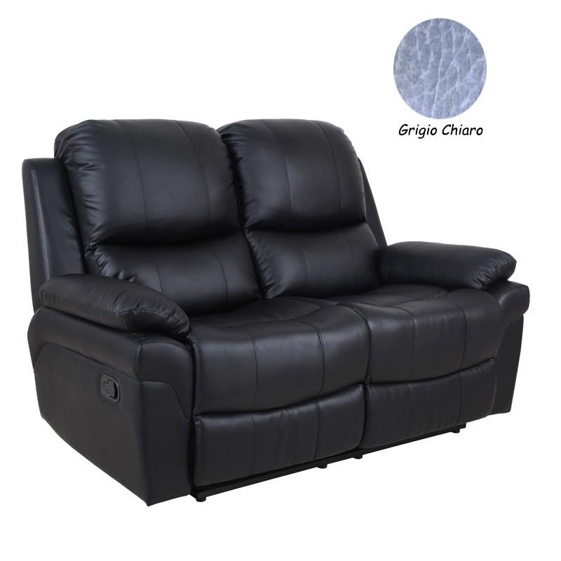 Divano 2 posti in ecopelle grigio chiaro reclinabile - Divano ecopelle 2 posti ...