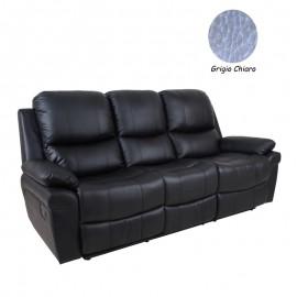 Divano 3 posti in ecopelle grigio chiaro reclinabile manuale 203x96xh.102 cm