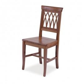 Sedia in legno massello noce e schienale intrecciato  43x46xh.94 cm