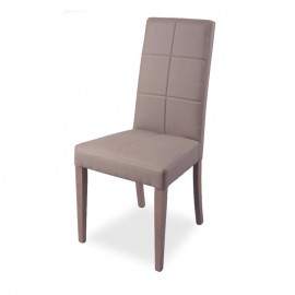 Sedia in legno rivestita in ecopelle tortora struttura in tinta 48x47xh.101 cm