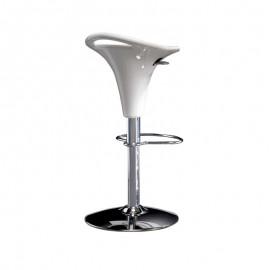 Sgabello in acciaio con seduta  polipropilene bianco e alzata a gas d.40cm