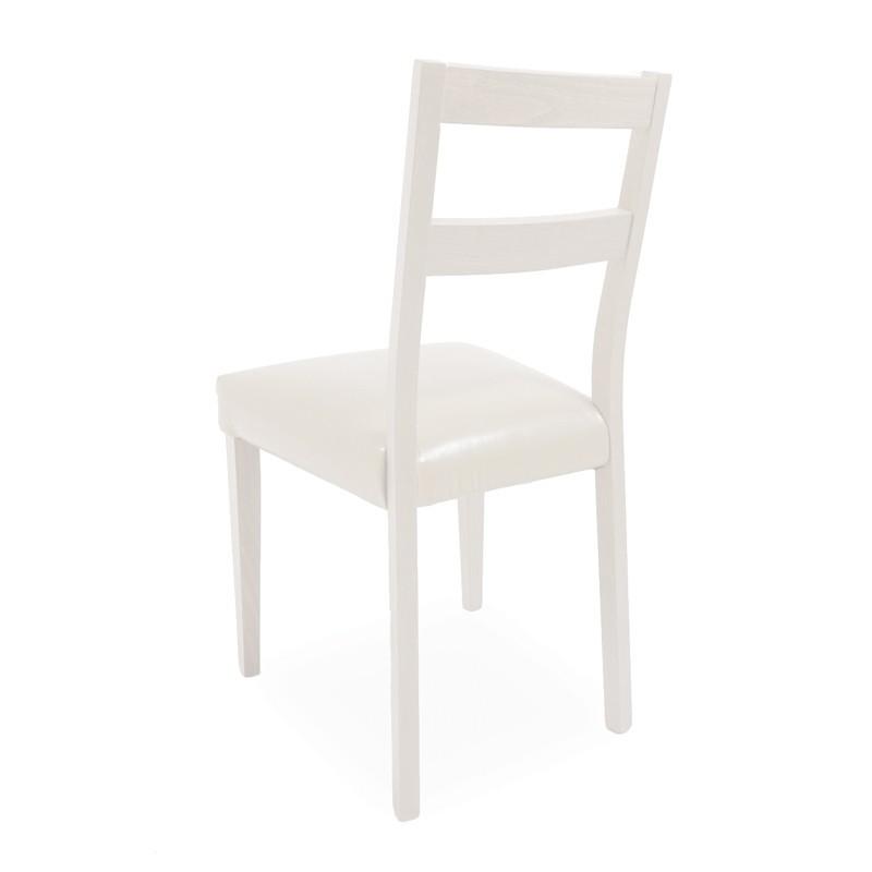 Sedia in legno di faggio in tinta con seduta in ecopelle bianca 45x...