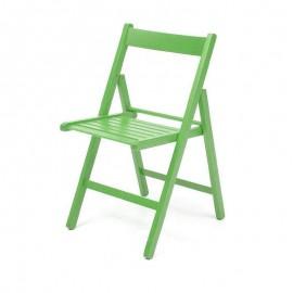 Sedia pieghevole in faggio di alta qualita colore verde 43x48xh.79 cm