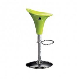 Sgabello in acciaio con seduta polipropilene verde e alzata a gas d.40cm